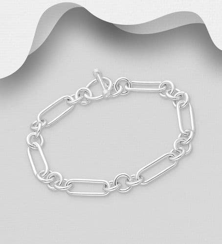 925 Sterling Silver Solid Hand Crafted Oblong and Circle Links Bracelet